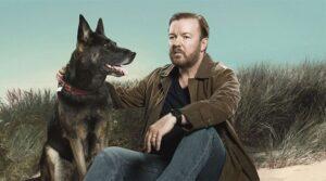 Solda Tony'yi hayatta tutan tatlı köpekçik, sağda Tony (canlandıran Ricky Gervais)